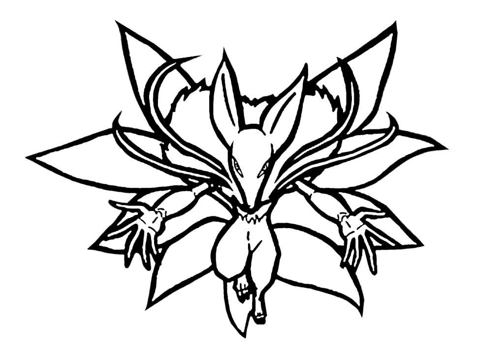 妖怪ウォッチぬりえ無料印刷画像-キュウビ02