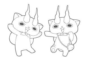 妖怪ウォッチ無料印刷ぬりえ-コマさん&コマじろう2