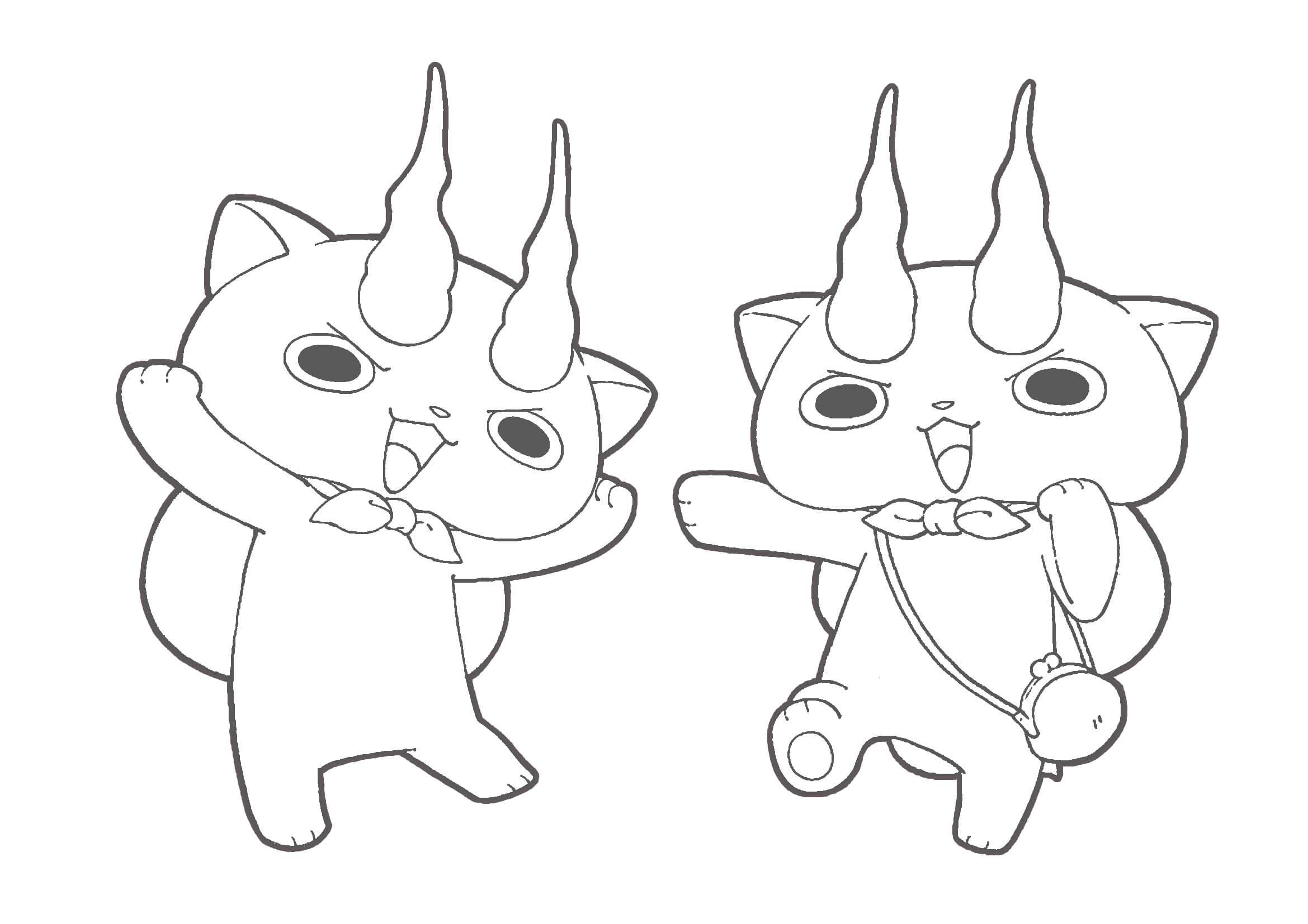 妖怪ウォッチぬりえ|コマさん&コマじろう
