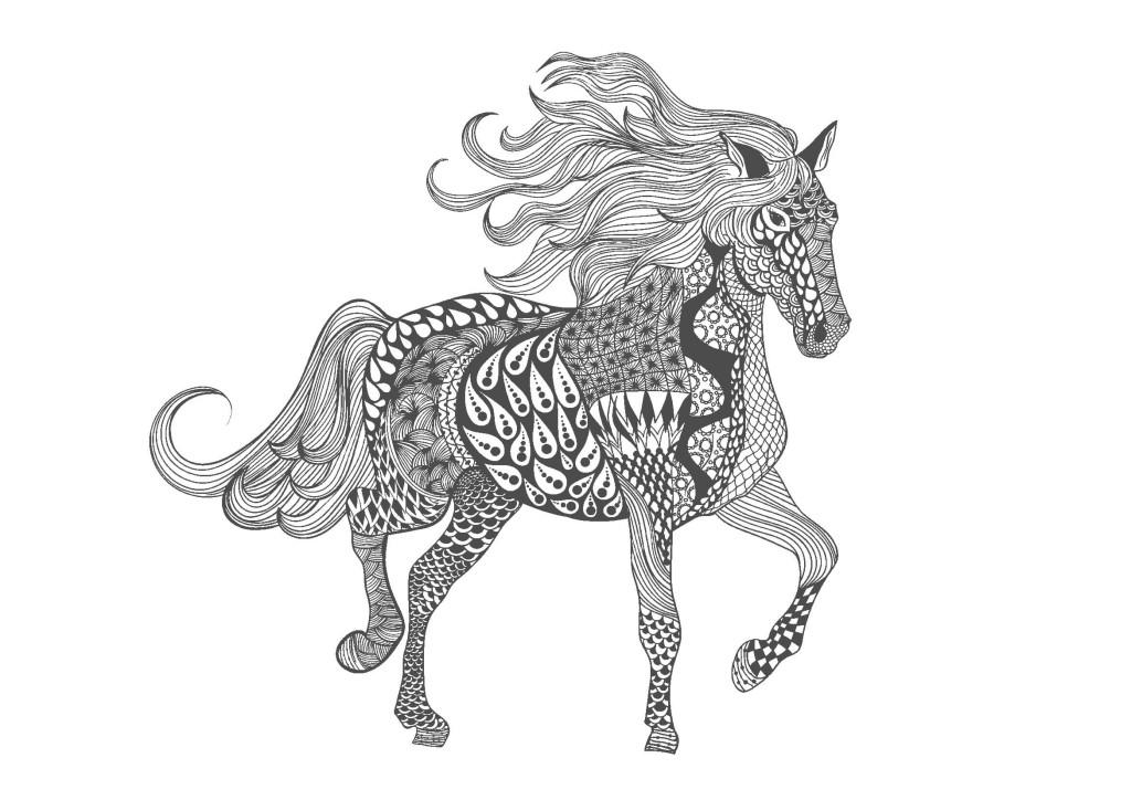 馬01-大人の塗り絵(無料コロリアージュ)