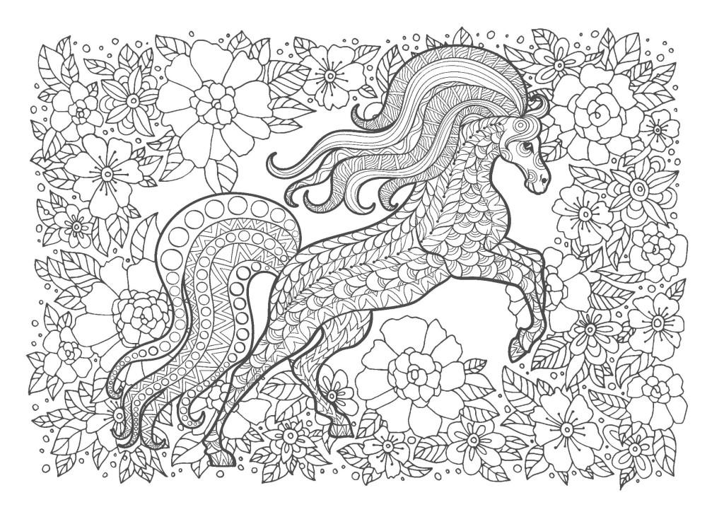 馬02-大人の塗り絵(無料コロリアージュ)