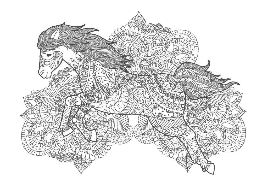 馬03-大人の塗り絵(無料コロリアージュ)