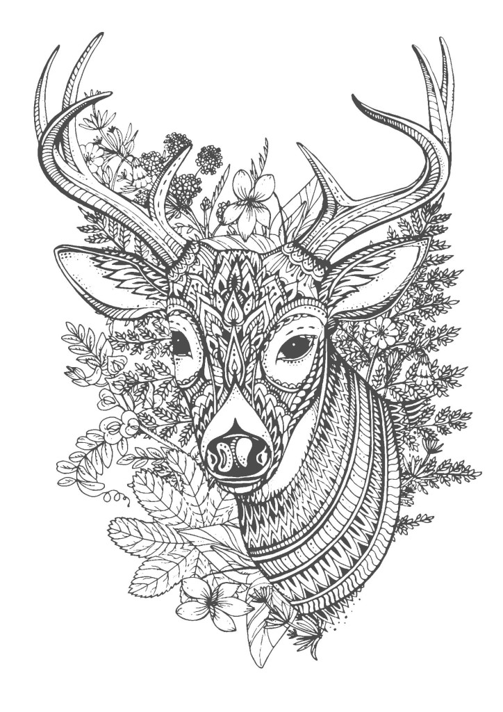 鹿-大人の塗り絵(コロリアージュ)