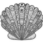 貝殻02-A4無料印刷の大人のぬりえ