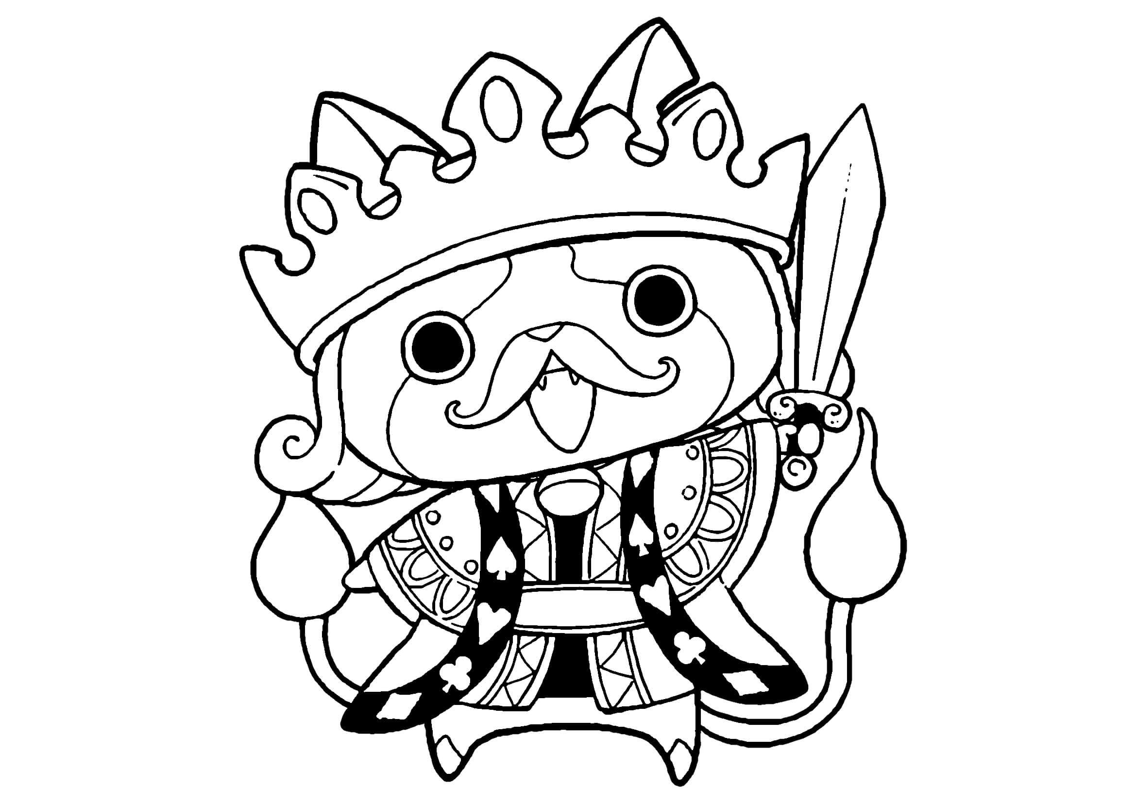 ジバニャンK(キング)-トランプ系妖怪無料印刷ぬりえ