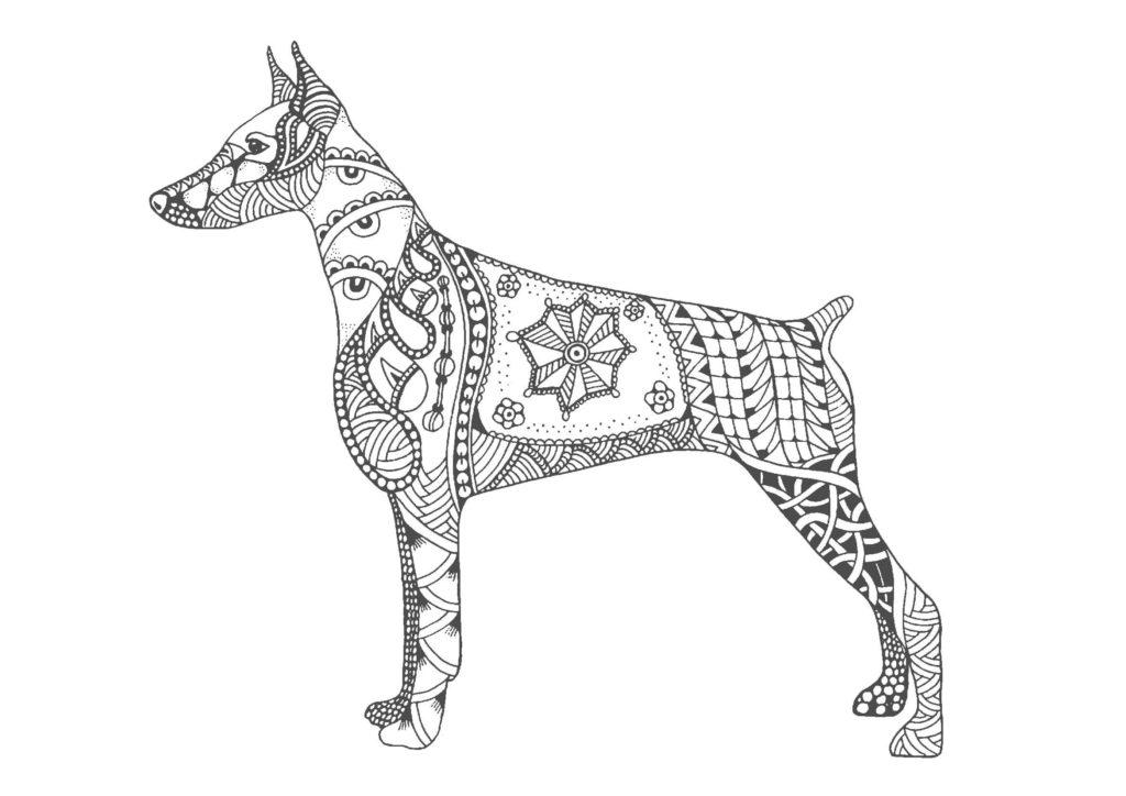 犬(全身)01-A4無料印刷の大人のぬりえ