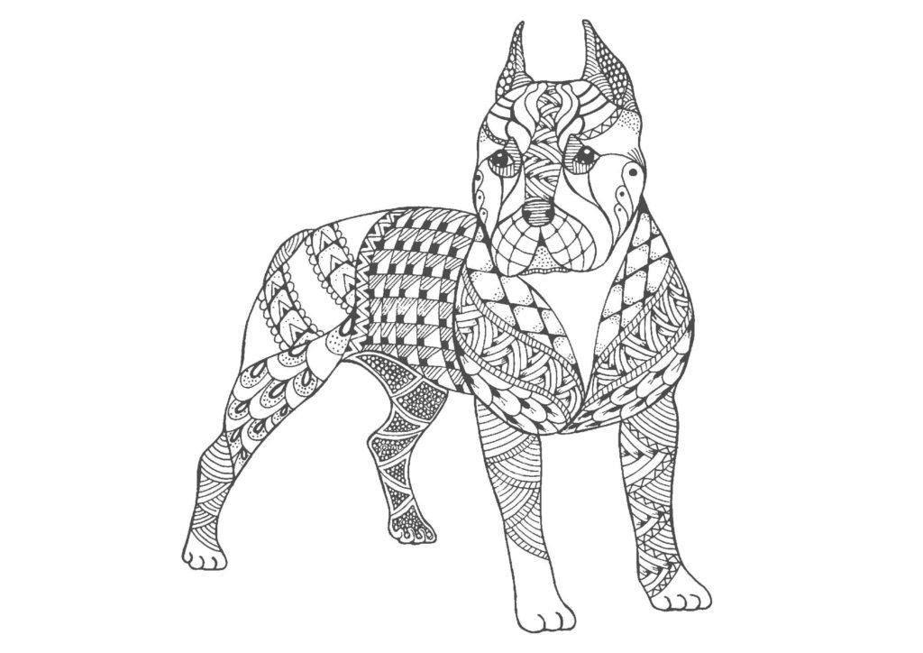 犬(全身)02-A4無料印刷の大人のぬりえ