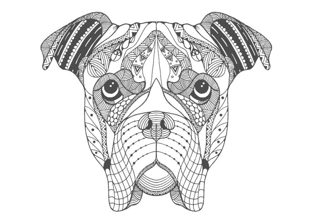 犬(顔)02-A4無料印刷の大人のぬりえ
