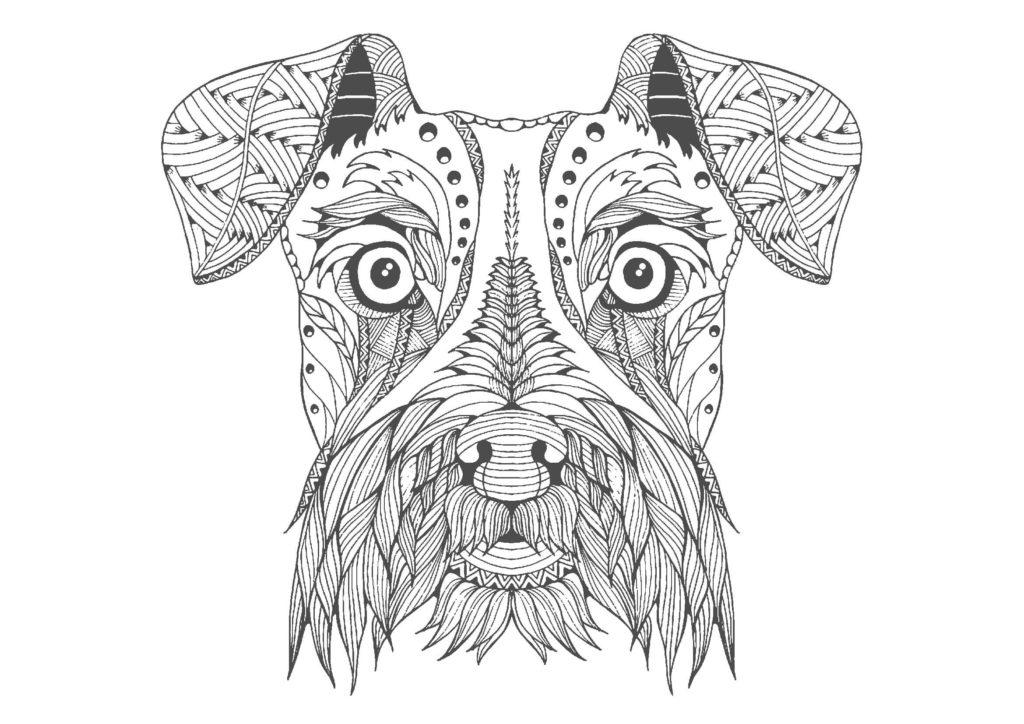 犬(顔)03-A4無料印刷の大人のぬりえ