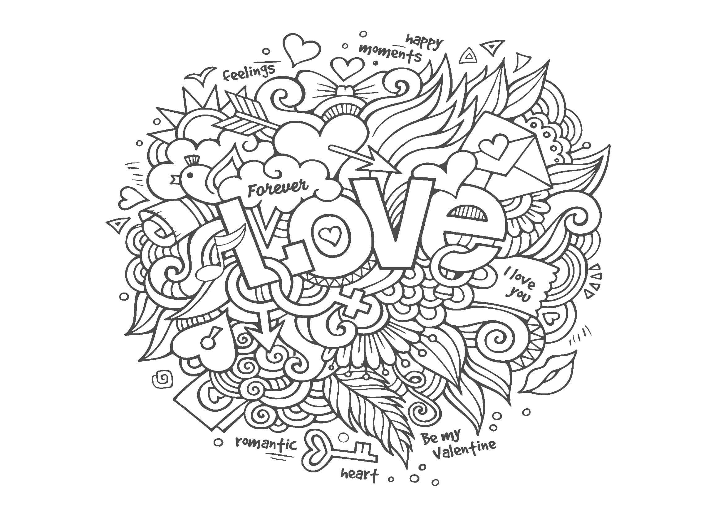 大人の塗り絵|ラブリー柄(Love)