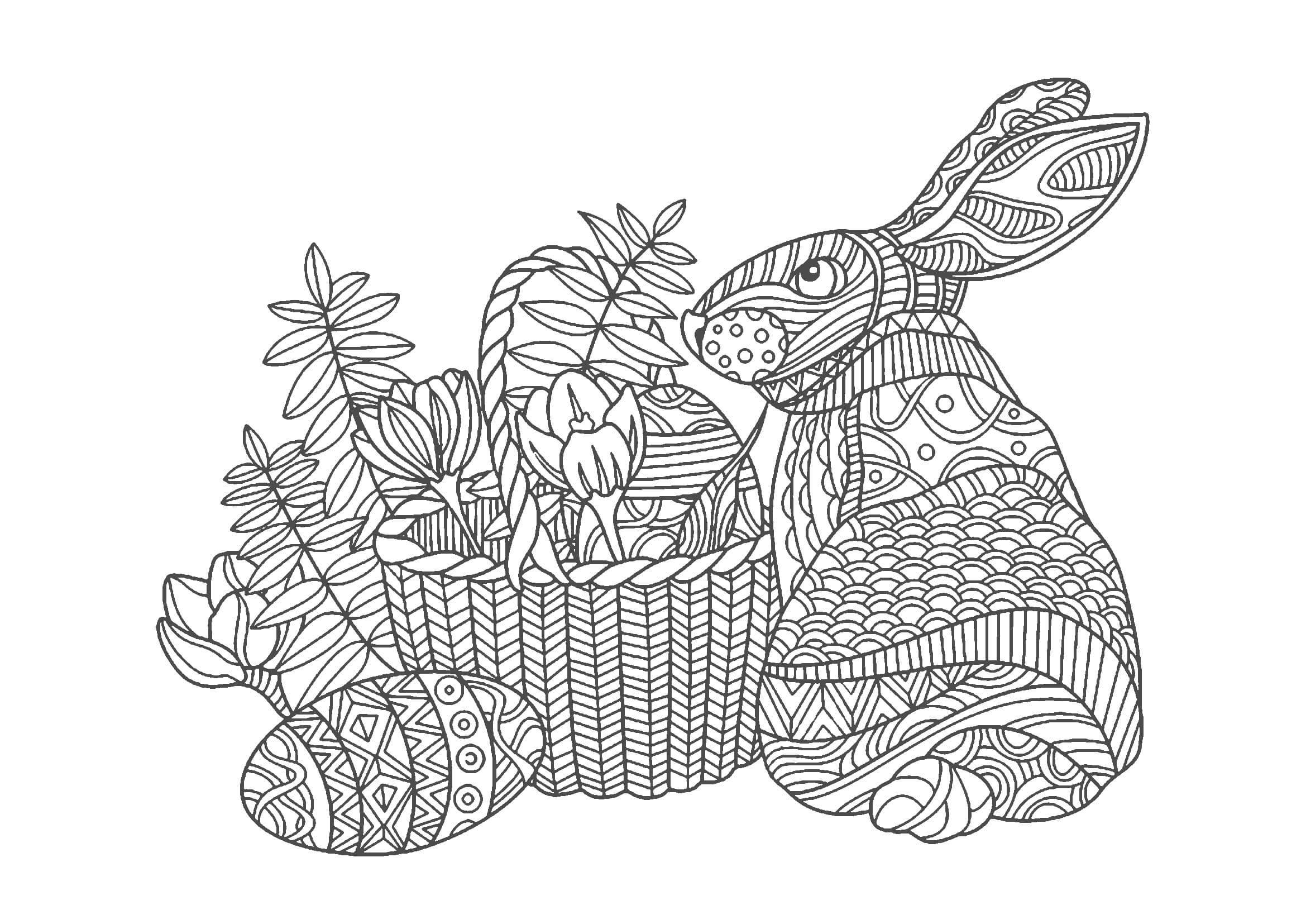 大人の塗り絵|ウサギ(無料印刷)