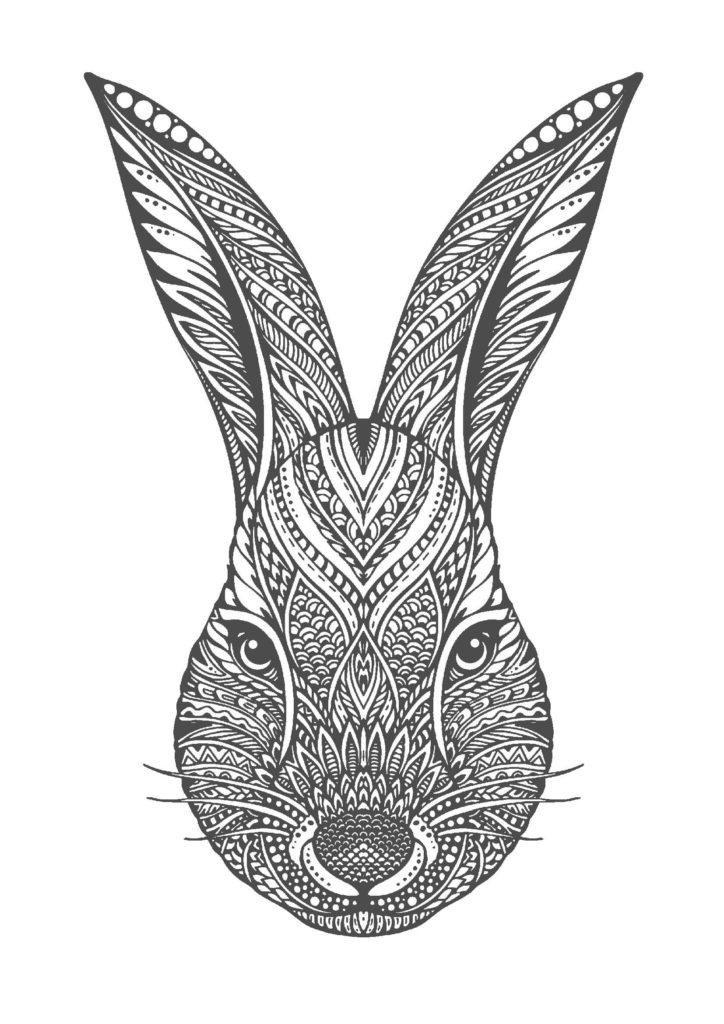 ウサギ04-A4無料印刷の大人のぬりえ
