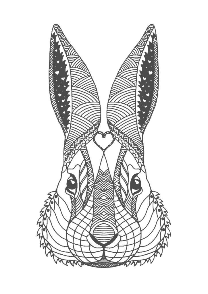 ウサギ03-A4無料印刷の大人のぬりえ