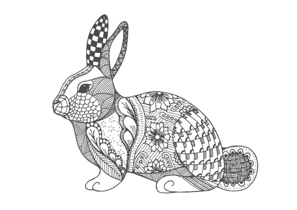 ウサギ01-A4無料印刷の大人のぬりえ