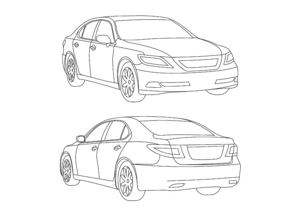 車05-A4無料印刷塗り絵