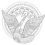 白鳥03-A4無料印刷の大人のぬりえ