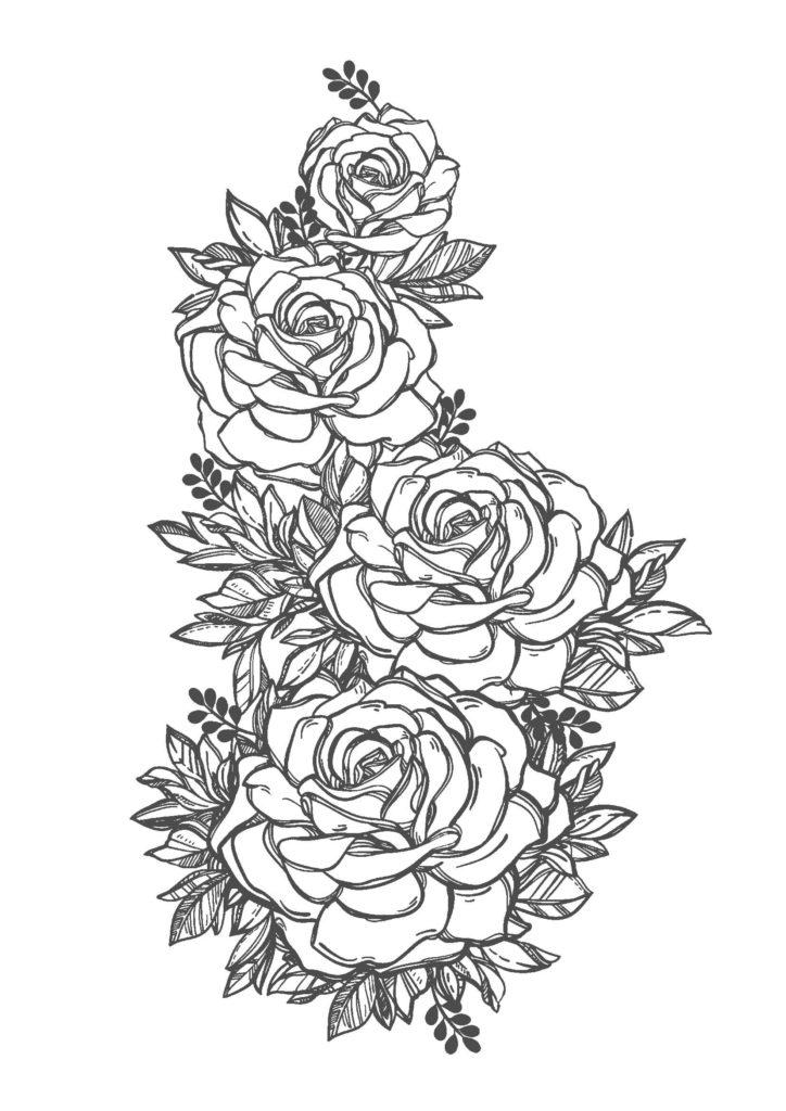 薔薇(バラ)01-A4無料印刷の大人のぬりえ