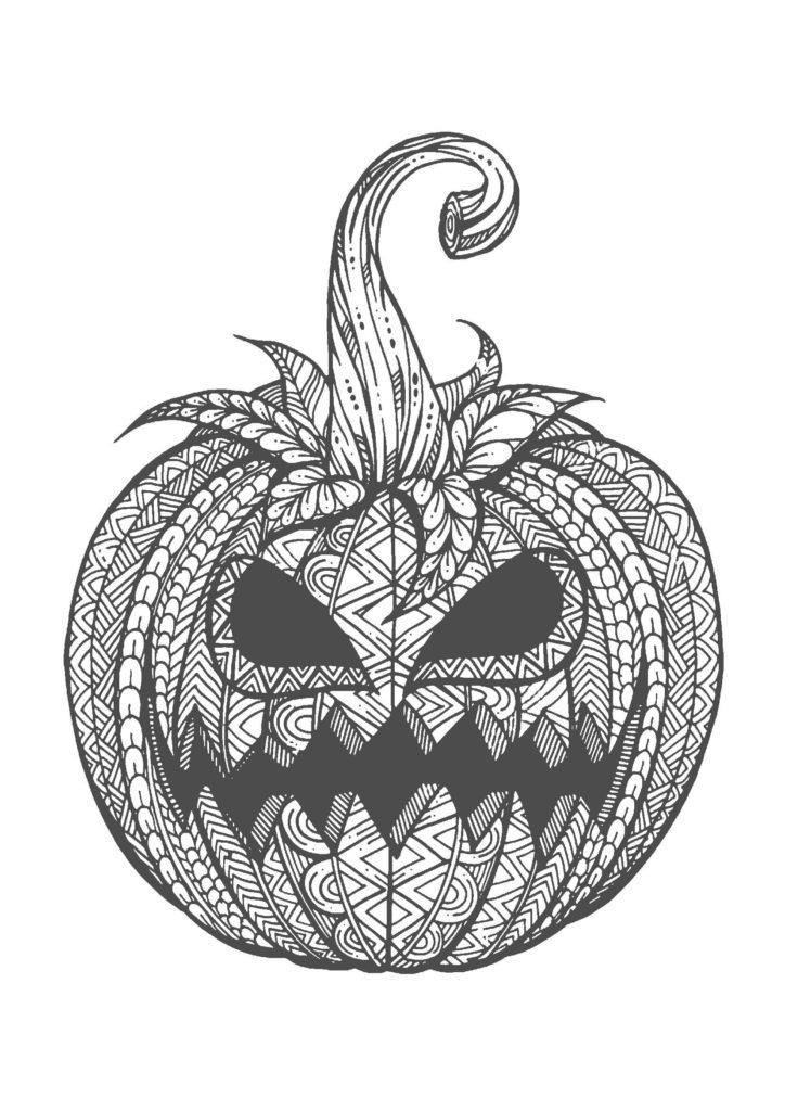 ハロウィンかぼちゃ02-A4無料印刷の大人のぬりえ