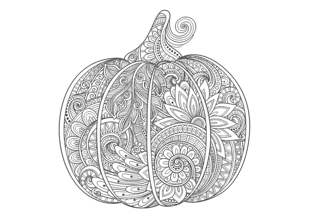 かぼちゃ-A4無料印刷の大人のぬりえ