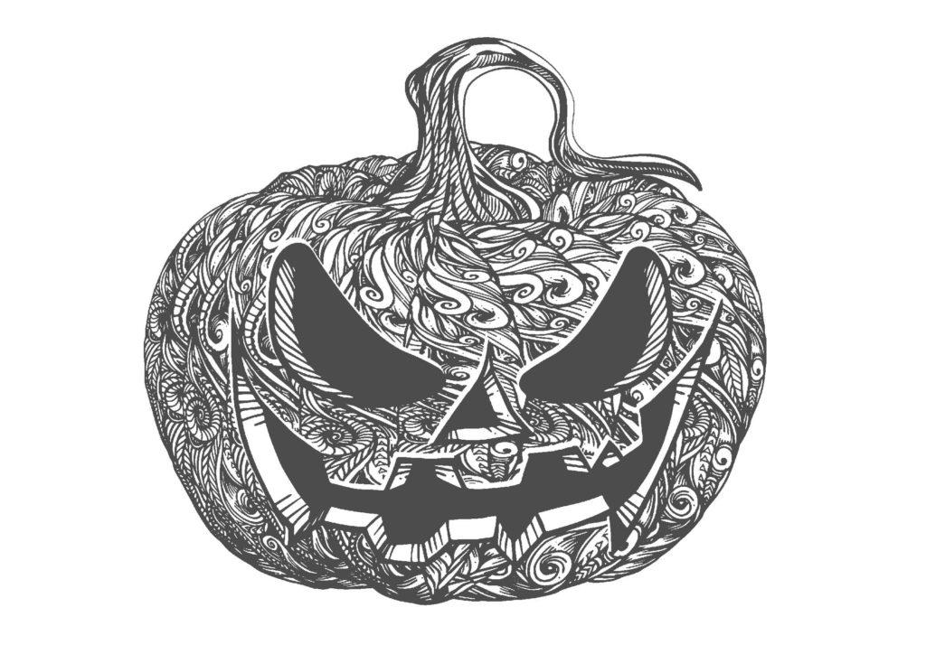 ハロウィンかぼちゃ01-A4無料印刷の大人のぬりえ