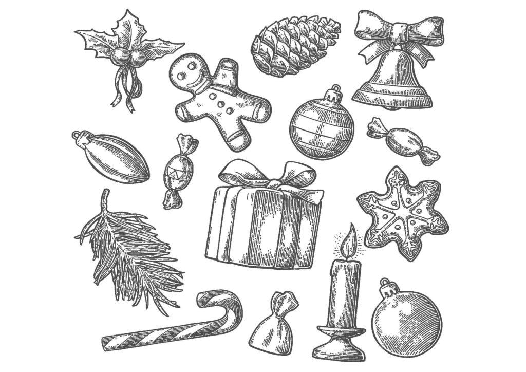 クリスマス01-A4無料印刷の大人のぬりえ