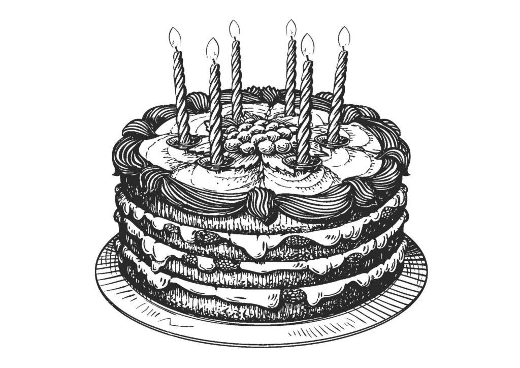 大人の塗り絵-誕生日ケーキ